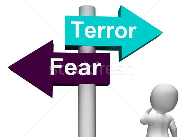 Terreur angst wegwijzer angstig paniek tonen Stockfoto © stuartmiles