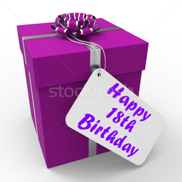 Happy 18th Birthday Gift Shows Celebrating Eighteen Years Stock photo © stuartmiles