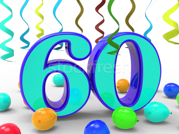 Number Sixty Party Means Garland Decoration Or Bright Balloons Stock photo © stuartmiles