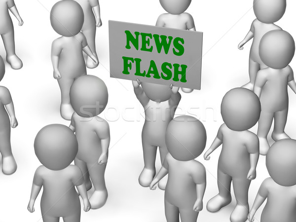 Stock photo: News Flash Board Character Shows Daily News And Journalism