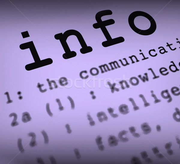 Info Definition Means Customer Support Or Instructions Stock photo © stuartmiles
