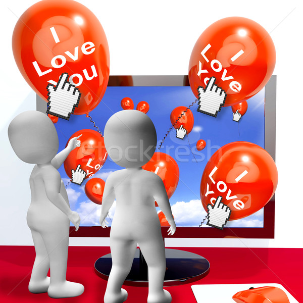 I Love You Balloons Represent Internet Greetings for Lovers Stock photo © stuartmiles