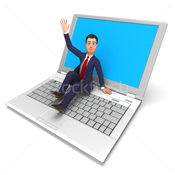 Businessman On Laptop Means World Wide Web And Biz Stock photo © stuartmiles