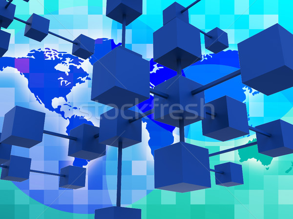 Interconnected Network Represents Global Communications And Conn Stock photo © stuartmiles