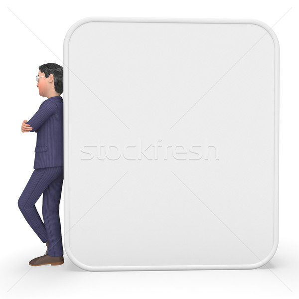 Businessman Beside Signboard Means Blank Space And Announce Stock photo © stuartmiles