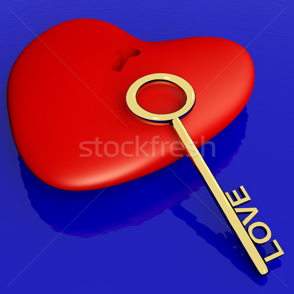 Heart With Key Showing Love Romance And Valentines Day Stock photo © stuartmiles