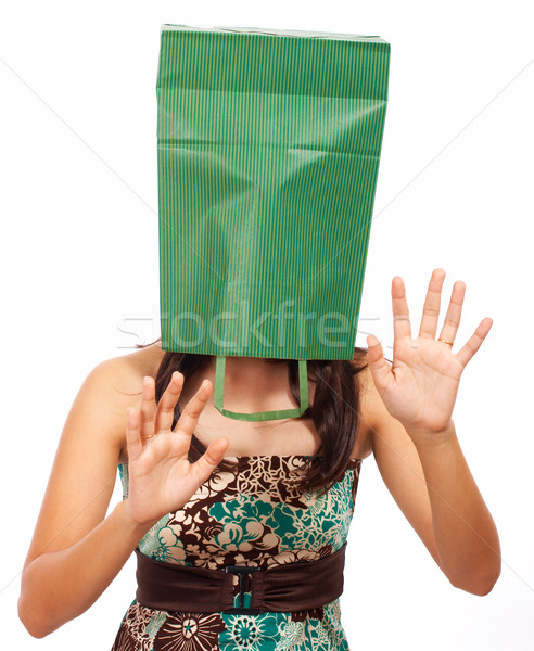 Girl With Bag On Head Hiding Stock photo © stuartmiles