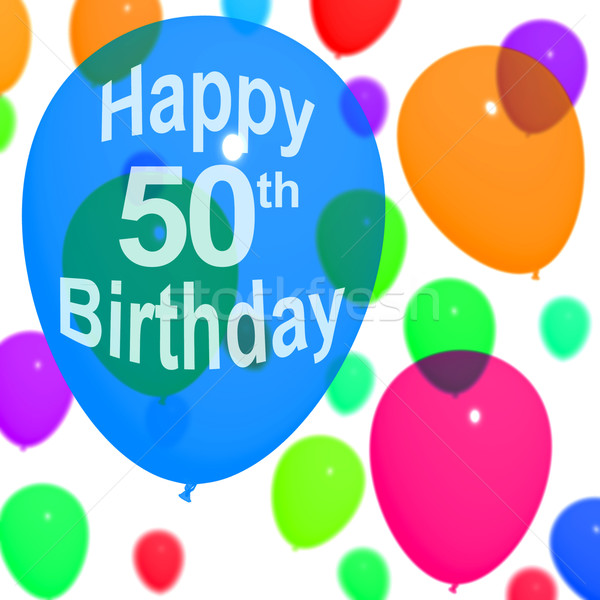 Multicolored Balloons For Celebrating A 50th or Fiftieth Birthda Stock photo © stuartmiles