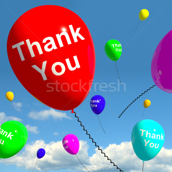 Thank You Balloons In The Sky As Online Thanks Message Stock photo © stuartmiles
