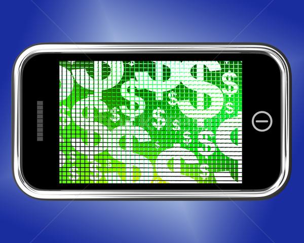 Dollar mobiele scherm tonen geld inkomsten Stockfoto © stuartmiles