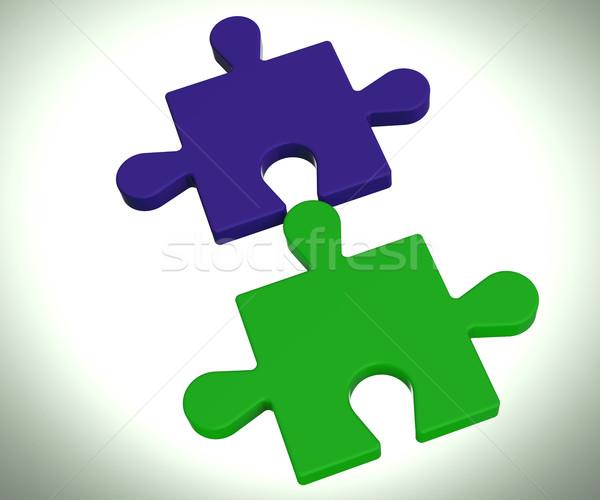 Jigsaw Pieces Shows Connected Team Concept Stock photo © stuartmiles