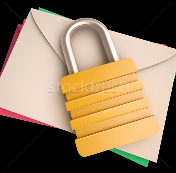 Lock Over Letters Shows Correspondence Safety Stock photo © stuartmiles