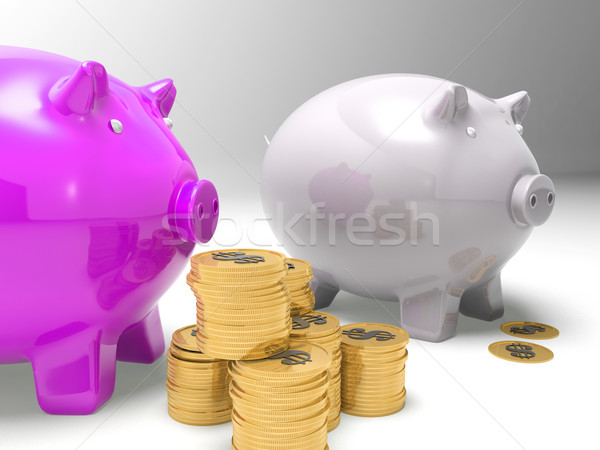 Piggybanks And Coins Showing American Earnings Stock photo © stuartmiles