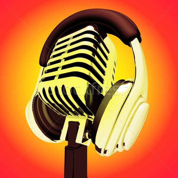 Microphone And Headphones Shows Recording Studio Or Performing Stock photo © stuartmiles