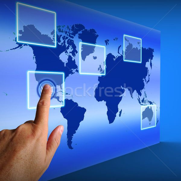 World Map Buttons Show Worldwide Communication And Global Networ Stock photo © stuartmiles