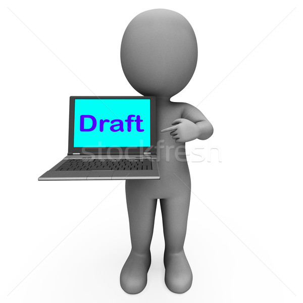Draft Character Laptop Shows Outline Correspondence Or Letter On Stock photo © stuartmiles