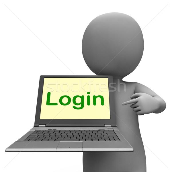 Login carattere laptop sito segno Foto d'archivio © stuartmiles