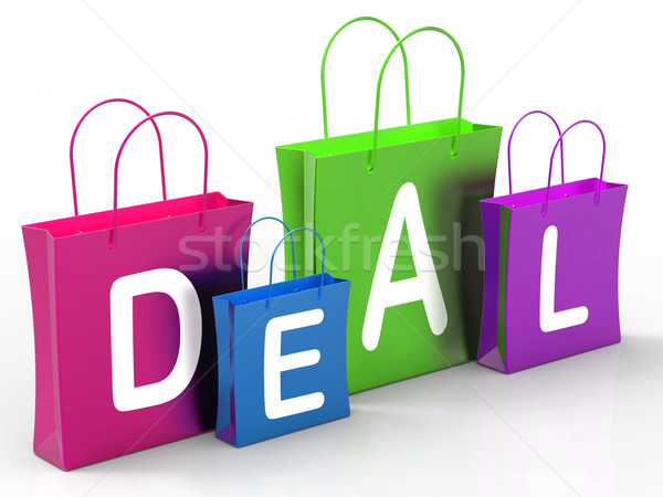 Deal On Shopping Bags Shows Bargains And Promotions Stock photo © stuartmiles
