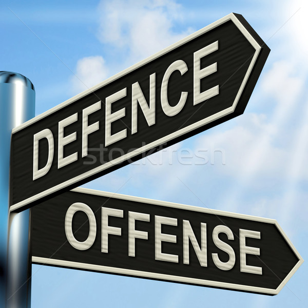 Defence Offense Signpost Shows Defending And Tactics Stock photo © stuartmiles