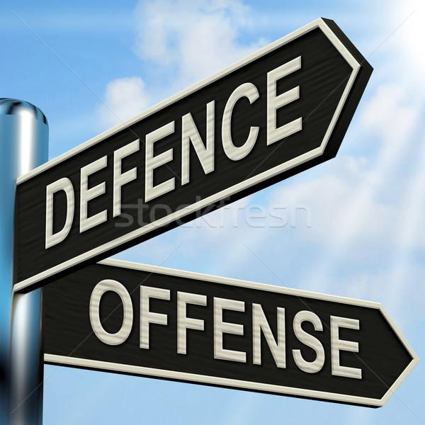 Defensie wegwijzer tactiek tonen plan Stockfoto © stuartmiles