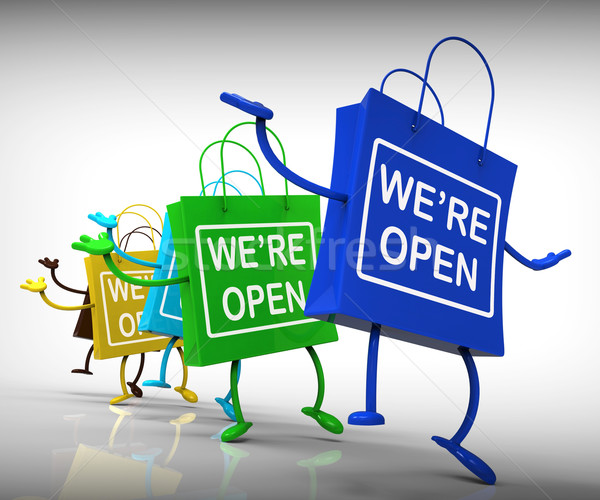 We're Open Bags Show Shopping Availability and Grand Opening Stock photo © stuartmiles