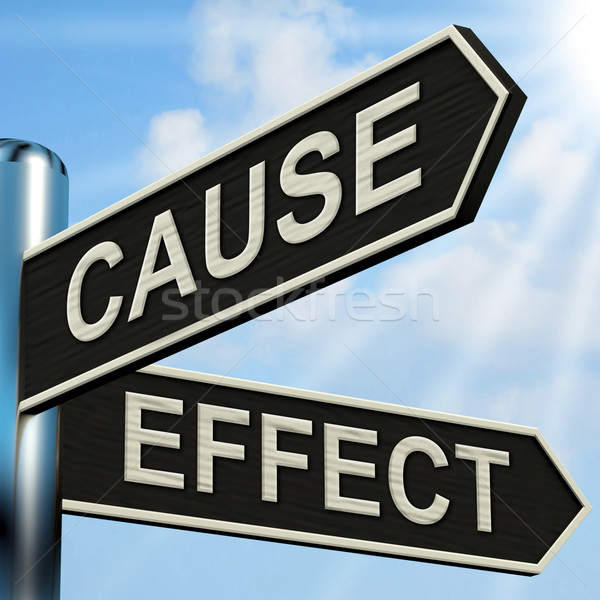 Cause And Effect Signpost Means Results Of Actions Stock photo © stuartmiles