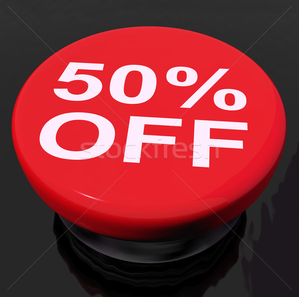 Fifty Percent Button Shows Sale Discount Or 50 Off Stock photo © stuartmiles
