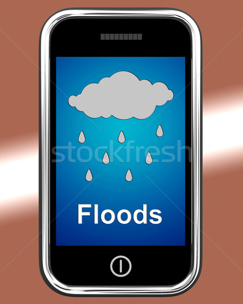 Floods On Phone Shows Rain Causing Floods And Flooding Stock photo © stuartmiles