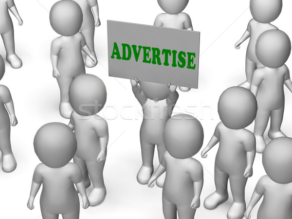 Stock photo: Advertise Board Character Means Marketing Strategy Or Business A
