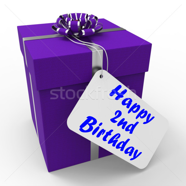 Happy 2nd Birthday Gift Shows Celebrating Turning Two Stock photo © stuartmiles