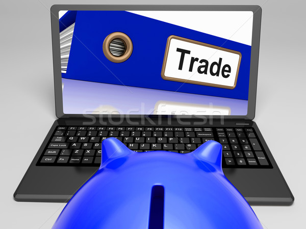 Trade Laptop Shows Internet Trading And Transactions Stock photo © stuartmiles