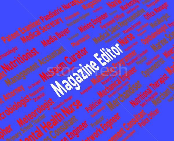 Stok fotoğraf: Dergi · editör · işçi · dergi · metin · işe · alım