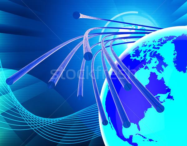 Optische vezel netwerk world wide web communiceren tonen Stockfoto © stuartmiles