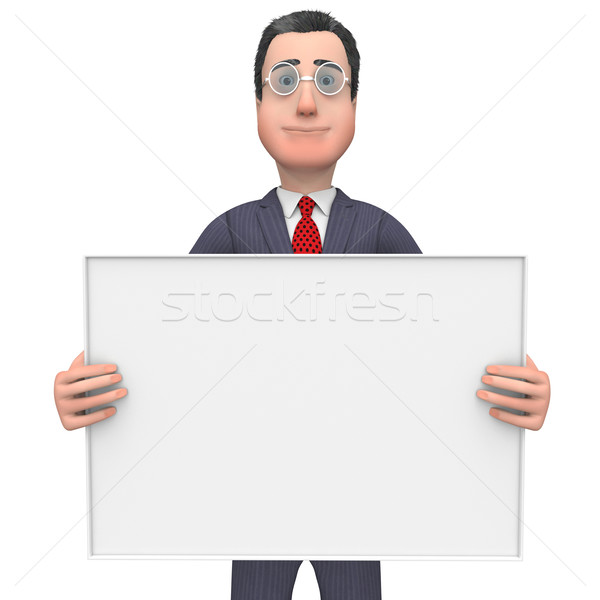 Businessman Holding Signboard Shows Text Space And Blank Stock photo © stuartmiles