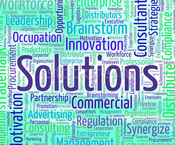 Solutions Word Represents Solved Words And Text Stock photo © stuartmiles