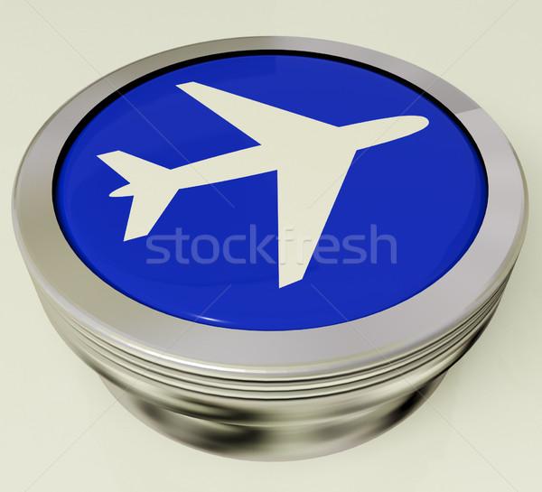 Airplane Icon Or Metallic Button Expressing Travel Or Airport Stock photo © stuartmiles