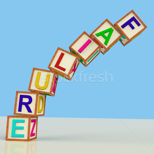 Blocks Spelling Failure Falling Over As Symbol for Rejection And Stock photo © stuartmiles