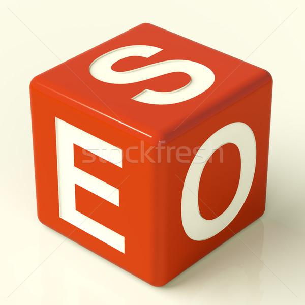 Seo Dice Representing Internet Optimization And Promotion Stock photo © stuartmiles