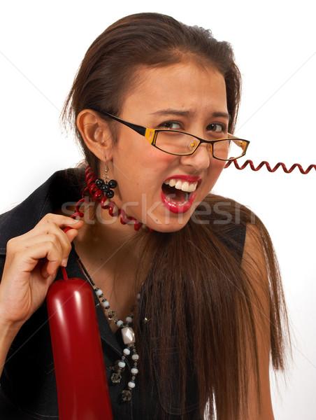 Titkárnő csalódott telefon hívás őrült bosszantó Stock fotó © stuartmiles