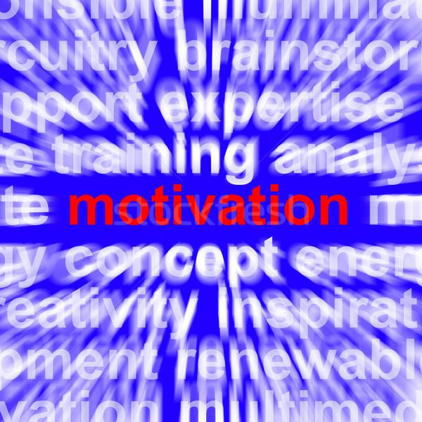 Motiváció szó mutat pozitív bátorítás elhatározás Stock fotó © stuartmiles