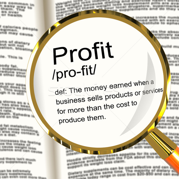 Profit Definition Magnifier Showing Income Earned From Business Stock photo © stuartmiles