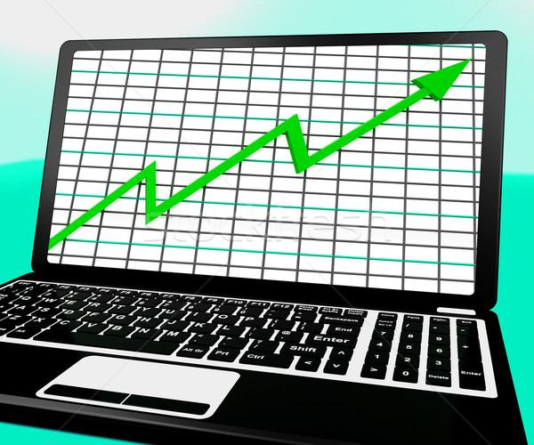 Сток-фото: стрелка · вверх · ноутбука · статистика · бизнеса