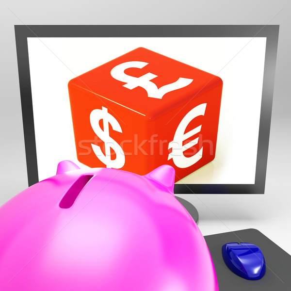Valuta dobbelstenen buitenlands uitwisseling reizen tonen Stockfoto © stuartmiles