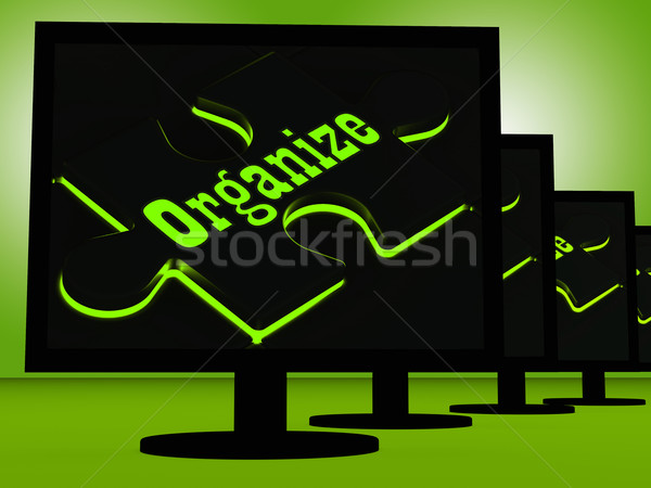 Organize On Monitors Showing Managing Stock photo © stuartmiles