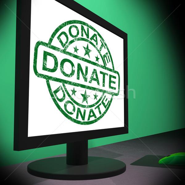 Adományoz számítógép adománygyűjtés mutat internet online Stock fotó © stuartmiles