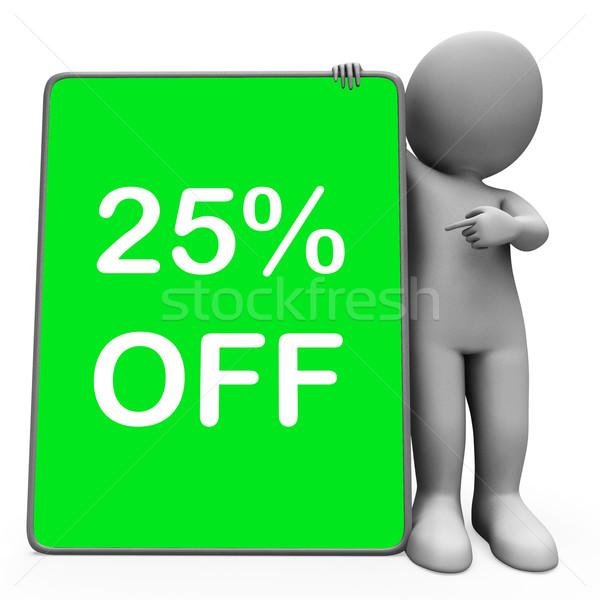 Dwadzieścia pięć procent tabletka charakter Zdjęcia stock © stuartmiles