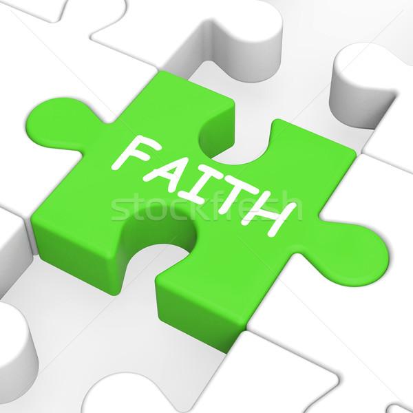 Faith Jigsaw Showing Spiritual Belief Or Trust Stock photo © stuartmiles