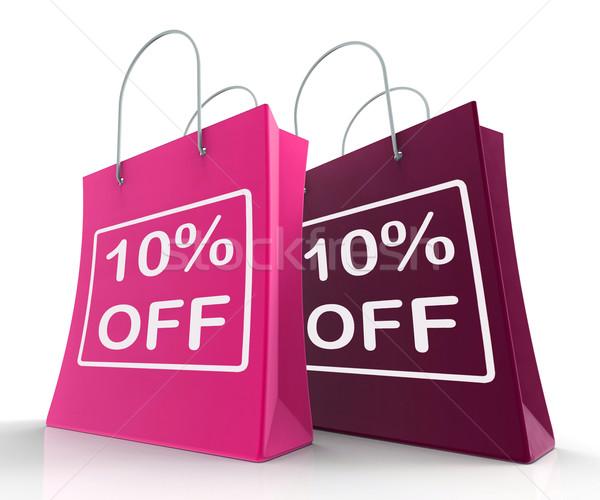 Ten Percent Off On Shopping Bags Shows 10 Bargains Stock photo © stuartmiles