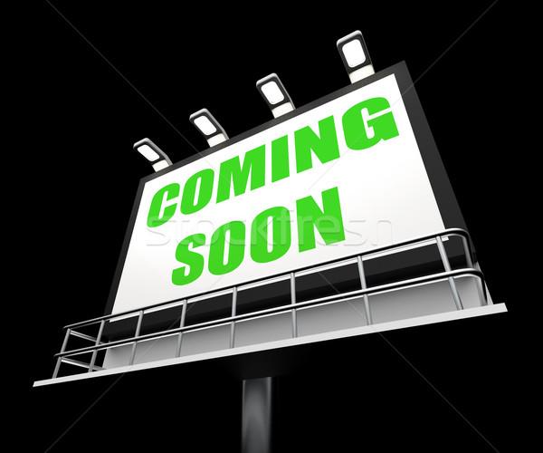 Binnenkort media teken nieuwe toekomst aankomst Stockfoto © stuartmiles