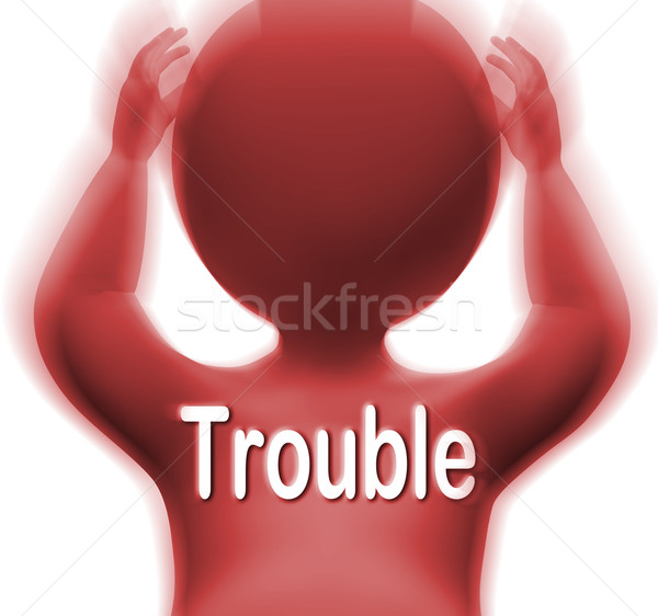 Trouble Character Means Problems Difficulty Or Worries Stock photo © stuartmiles